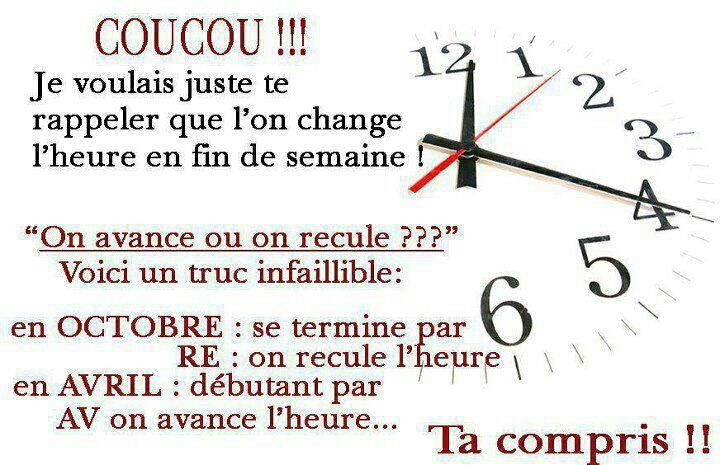 ON CHANGE D HEURE