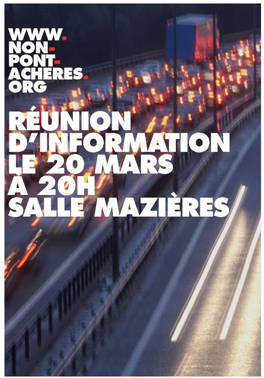 Réunion d'information le 20 MARS 2015 à partir de 20H à l'espace municipal Raymond Mazières !