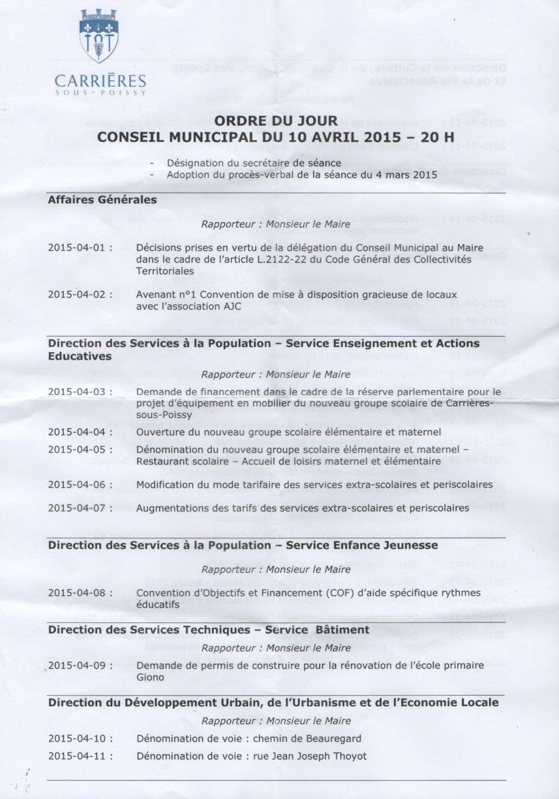 Conseil municipal du 10 avril de Carrières-sous-Poissy (vidéos)