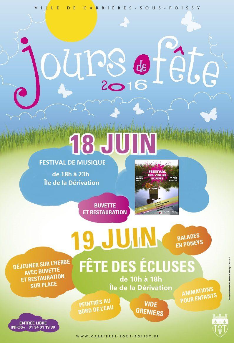 Fête des écluses et Festival de musique à Carrières le 18 et 19 juin