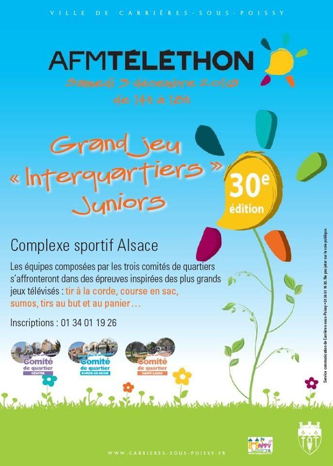 Téléthon 2016 30ème édition - Ce matin venez participer à l'inter-quartiers à Carrières-sous-Poissy !