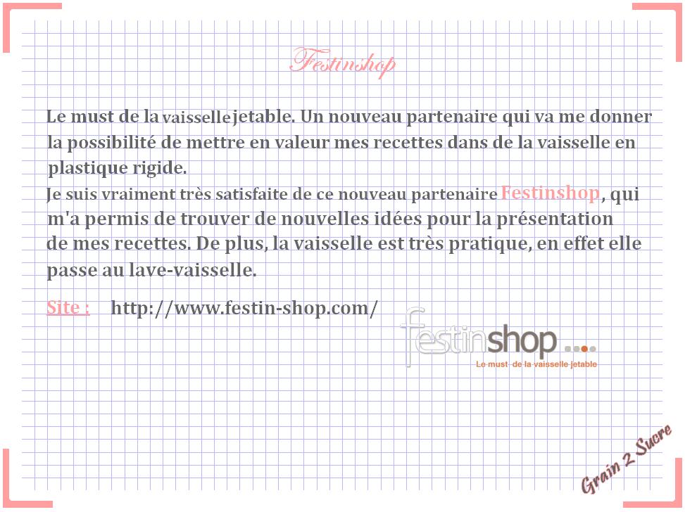 <font color =#FFFFFF> Recette, Grain 2 Sucre, Partenaire, Vaisselle, Vaisselle jetable, Festinshop </font>