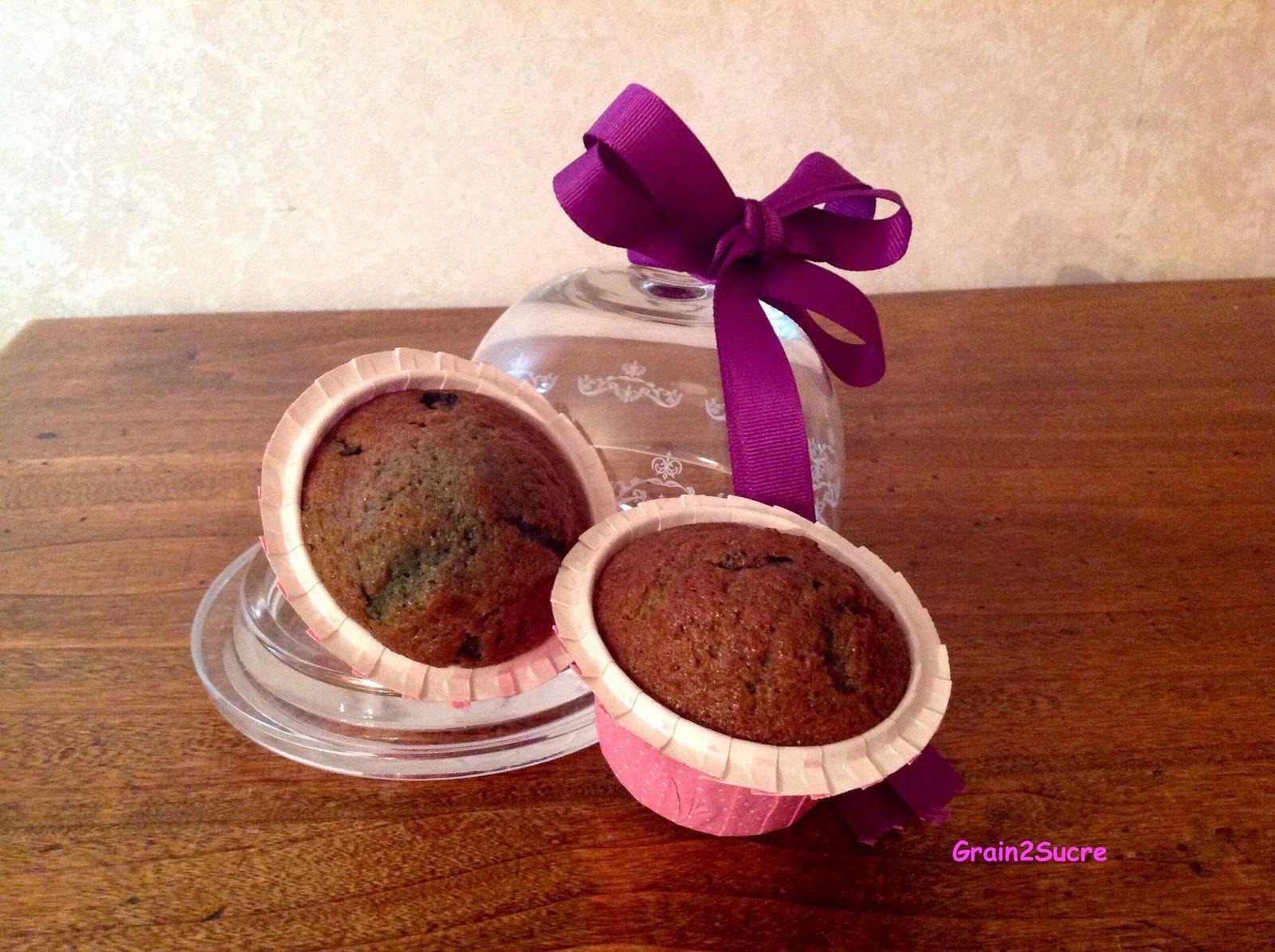 Grain2Sucre. Recette de Muffins aux myrtilles : farine, sucre, œufs, huile, lait, myrtilles.