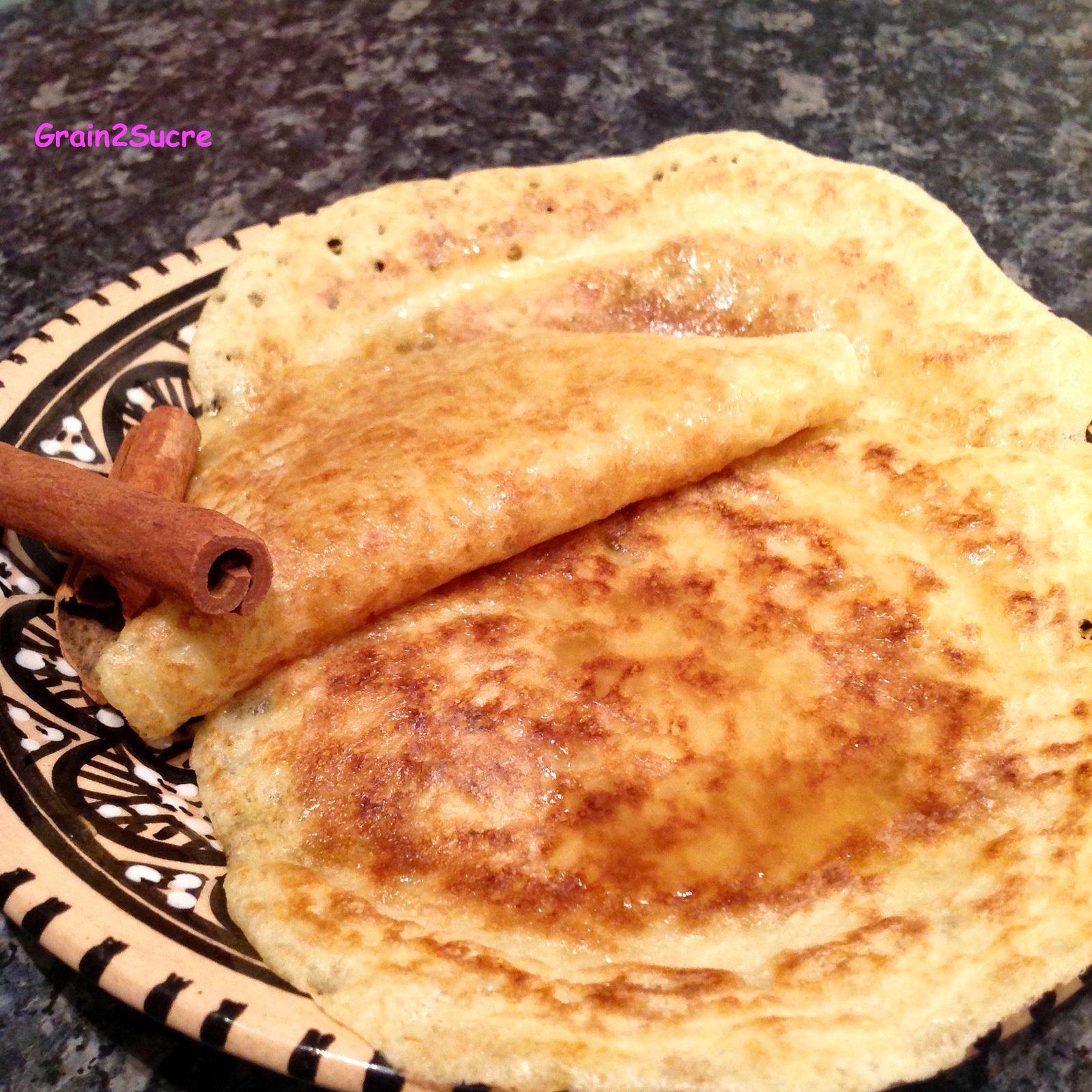 Grain2Sucre. Recette Baghrir, semoule, farine, eau, levure chimique et fraîche, miel, beurre