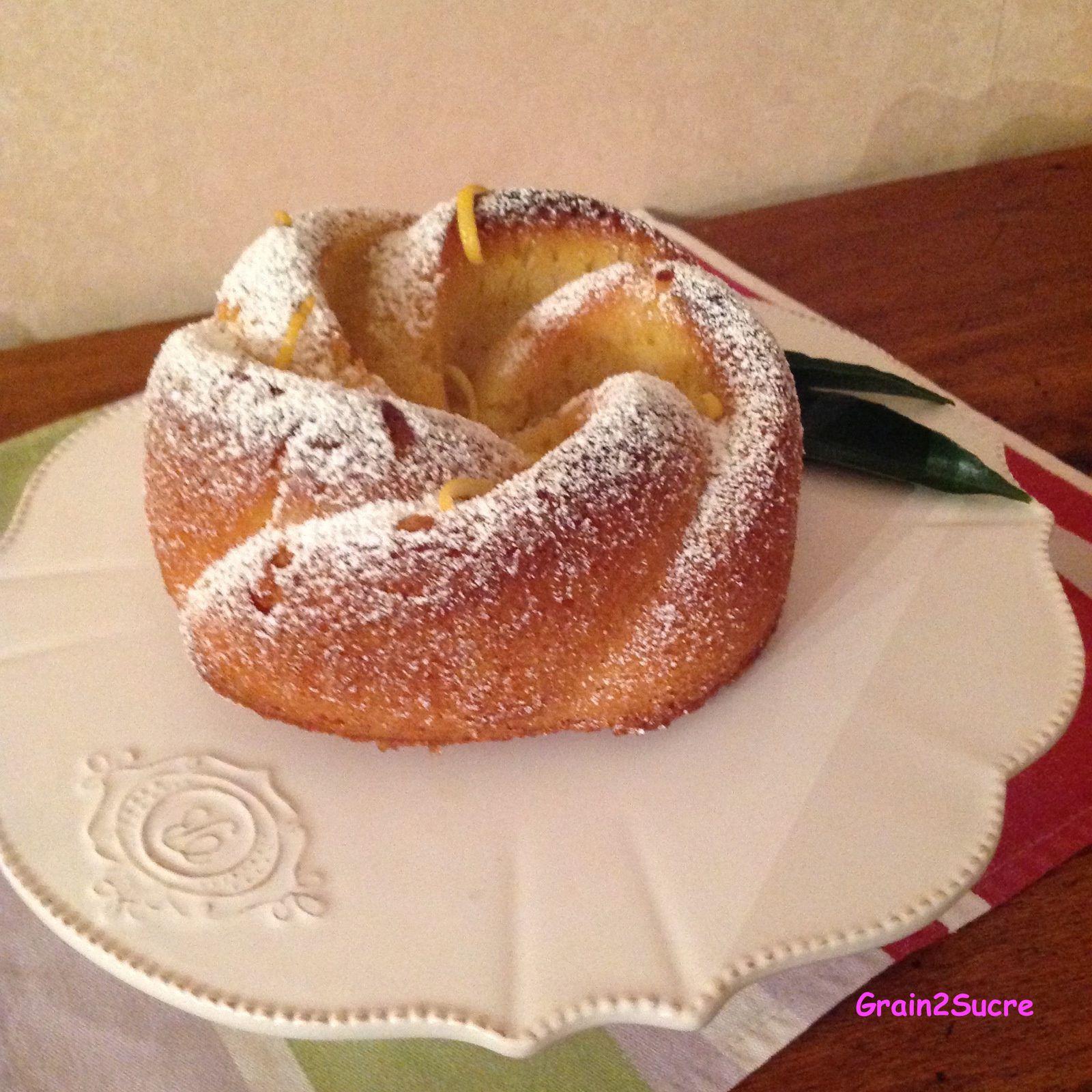 Grain2Sucre. Recette Bundt Cake Au Citron: farine, beurre, cassoade, citron.