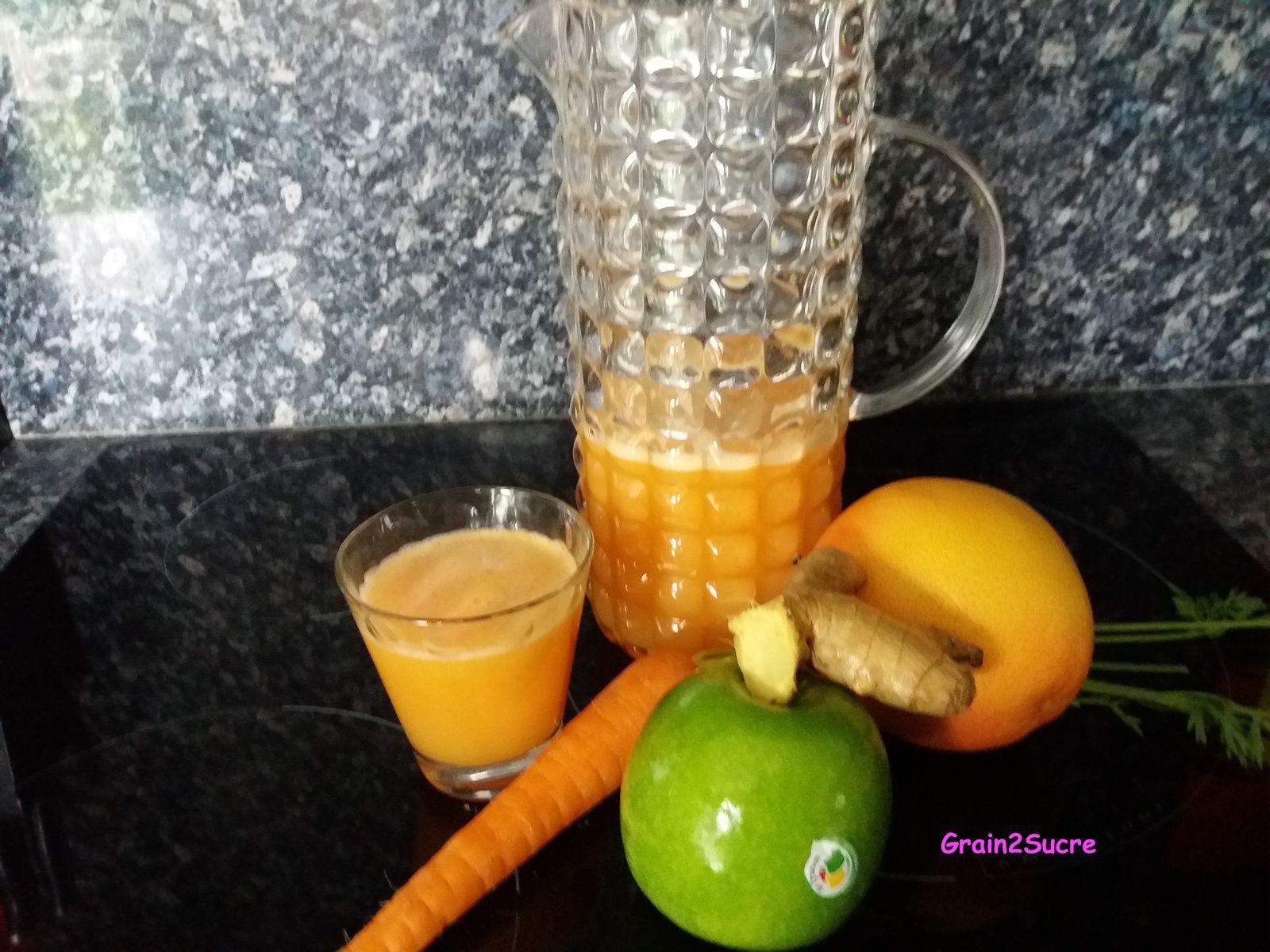Recette Grain2Sucre. Jus de pomme, carottes, oranges, pamplemousse, gingembre.