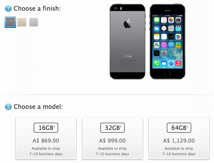 iPhone 5s orders launch to 7-10 day estimates in Australia/China, 'October' in Hong Kong/Singapore