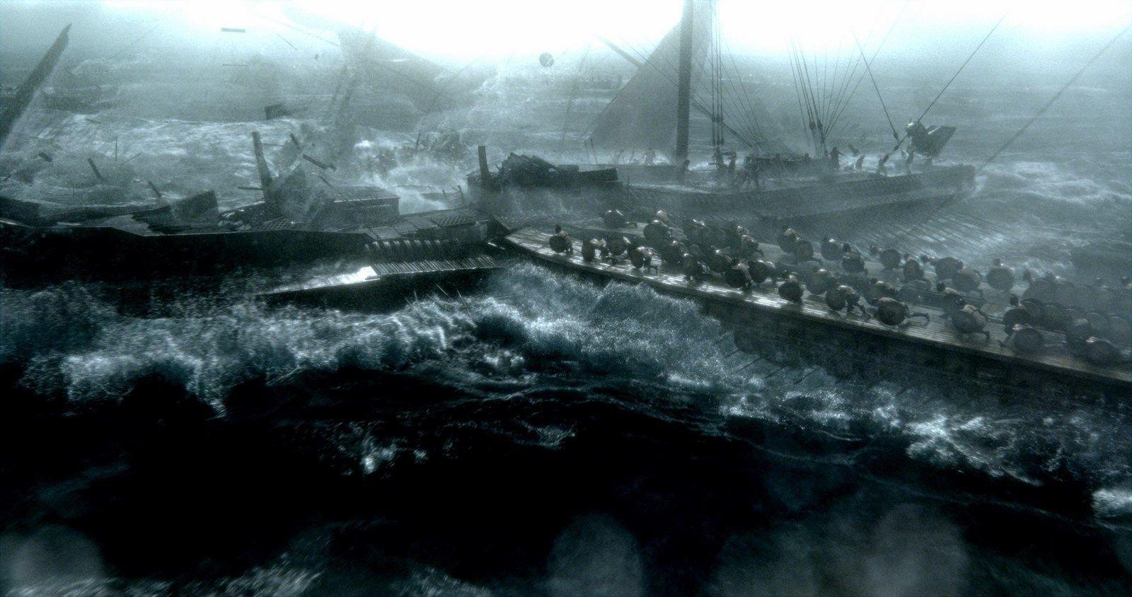 Quand 300 était sous la dominance des couleurs chaudes, La naissance d'un empire se déroule dans une image nimbée de couleurs froides.