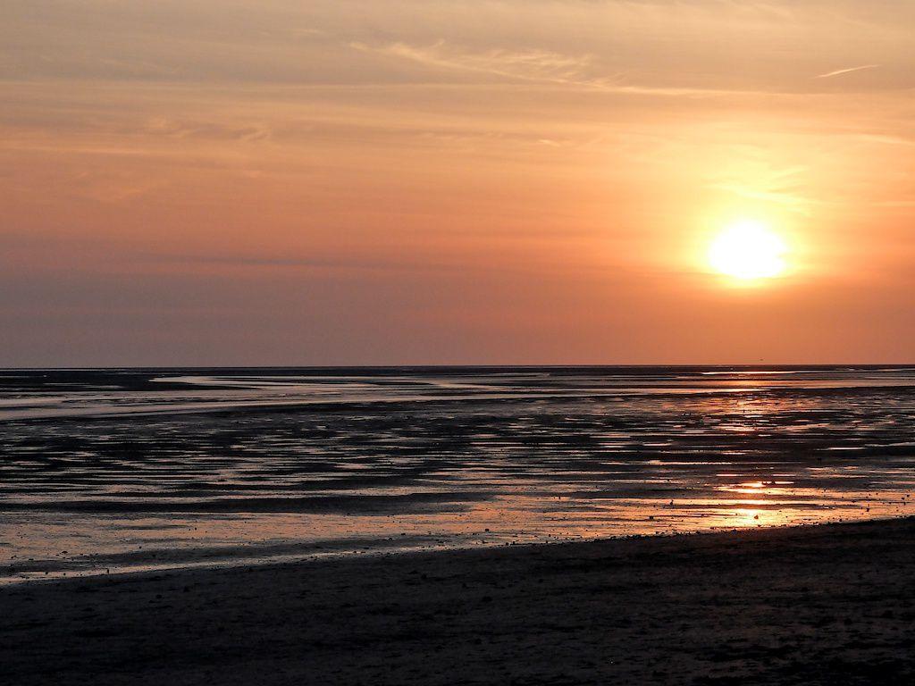 coucher de soleil au Crotoy-baie de Somme.