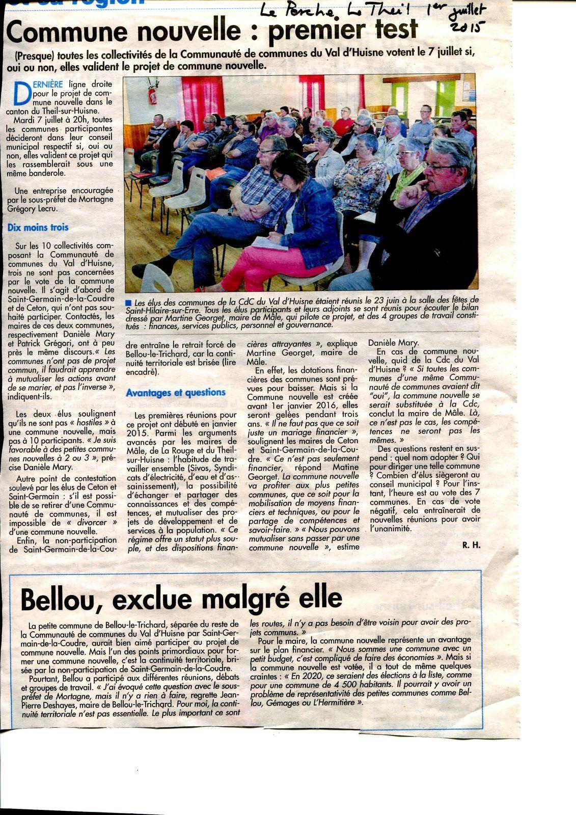 Communes nouvelles du Perche (avec l'autorisation du journal Le Perche)