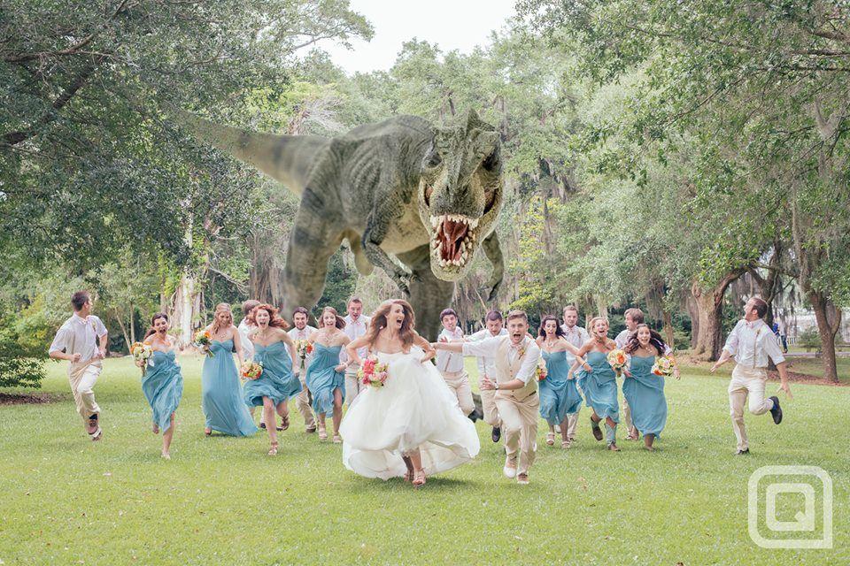 Le photographe américain, Quinn Miller, a eu l'idée originale de faire participer un dinosaure lors de la traditionnelle photo de mariage. Par Quinn Miller