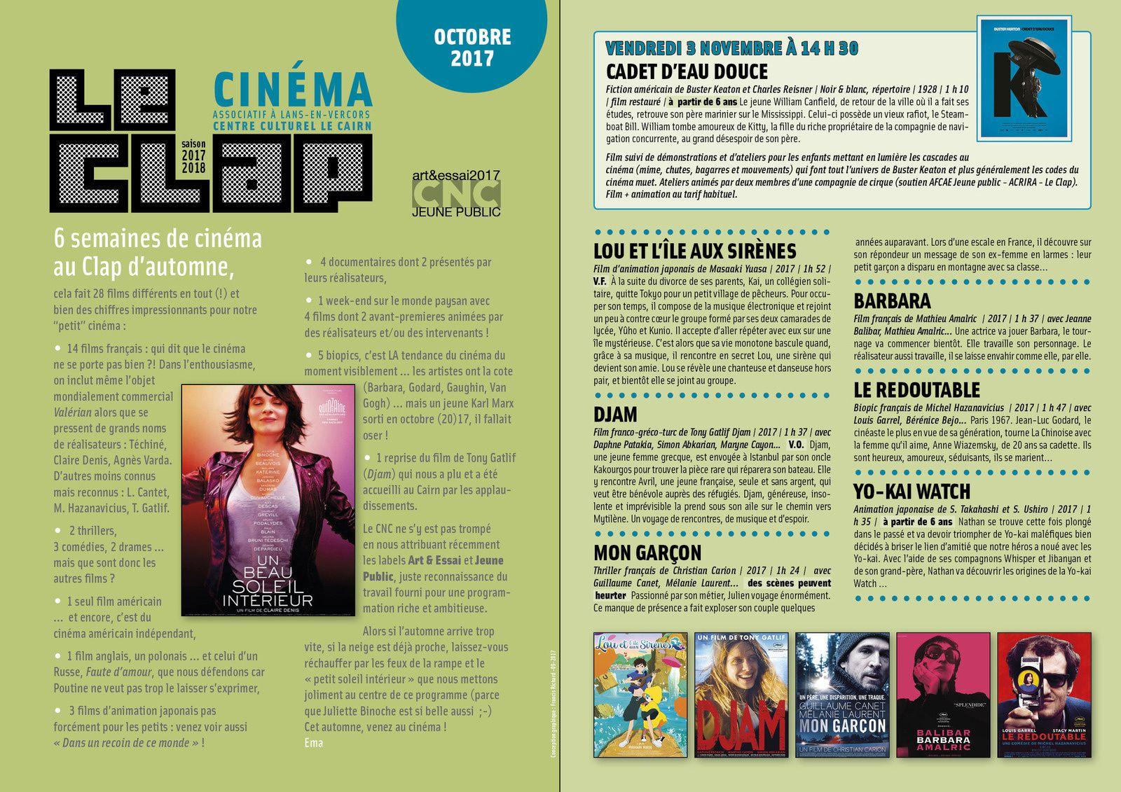 6 semaines de cinéma au Clap d'automne