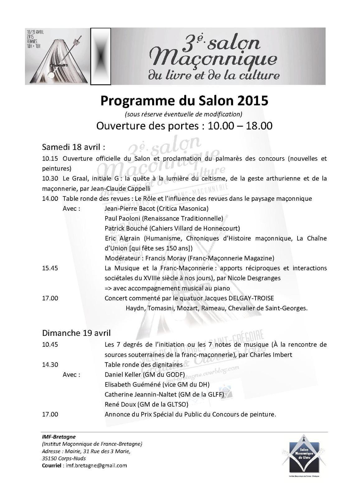 Programme du salon ma onnique de rennes 2015 imf bretagne - Programme salon du bourget 2015 ...