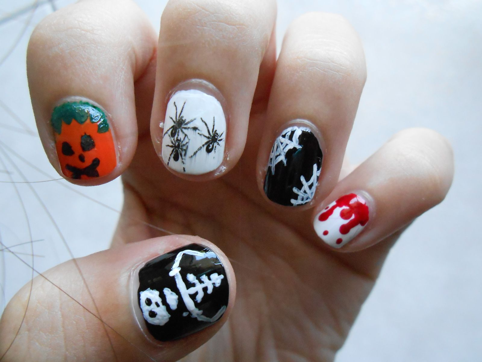 nail art d 39 halloween sur ongles courts les ongles de. Black Bedroom Furniture Sets. Home Design Ideas