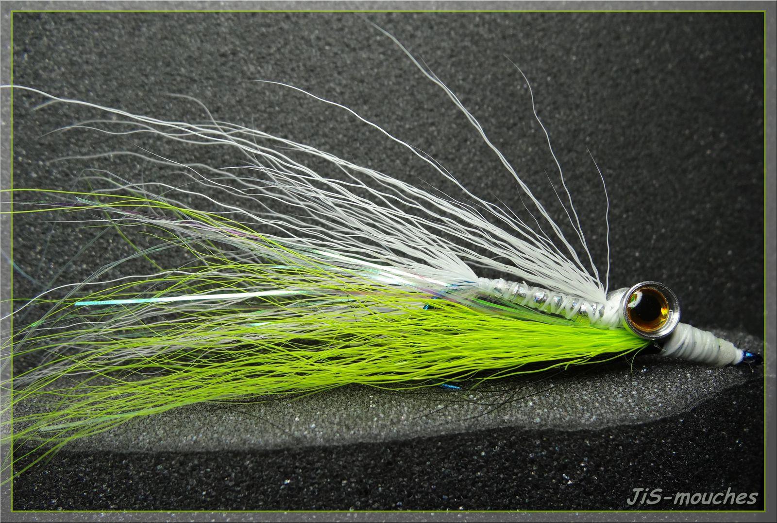 Clouser minnow, au choix....Blanc/jaune/noir....Blanc/chartreuse/noir....