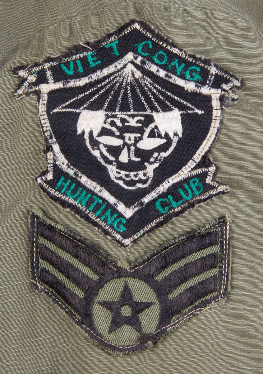"The ""Vietcong Hunting Club"" patch was a popular design during the war, although its wear was mostly prohibited by military authorities. It is quite surprising to find one on a security policeman jacket!"
