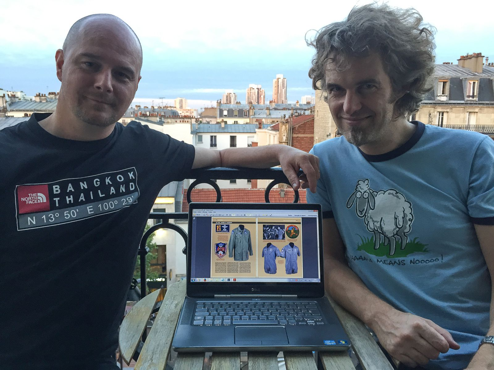 François and Olivier in Paris in August. A tiny part of the 1st SOS section of volume 2 can be seen on the laptop.