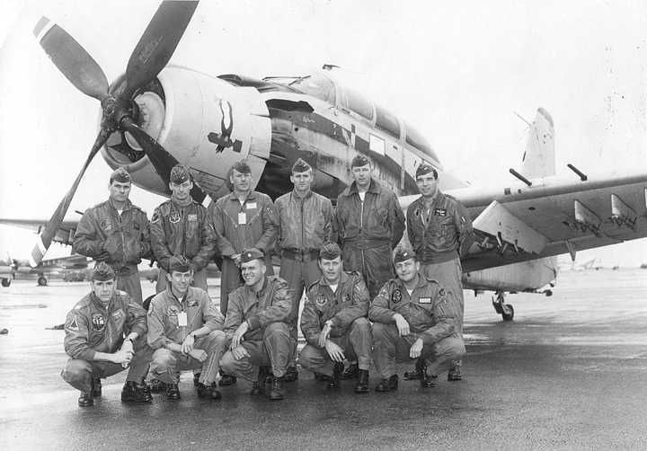 Class Express 10. Skyraider Training at Hurlburt Field, Florida (Eglin Air Force Aux 9). Front row, first on the left. Air Force
