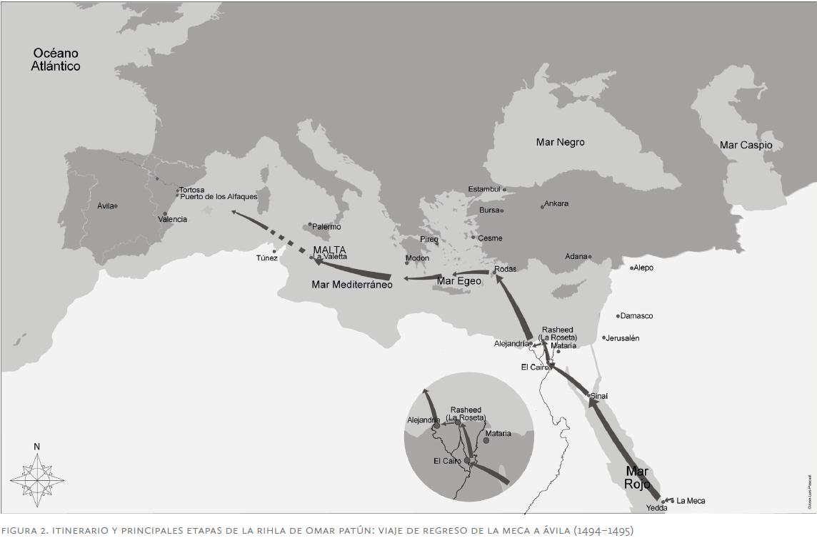 Itinéraire et principales étapes du voyage de 'Omar Patún : trajet au retour de La Mecque à Ávila entre l'an 899 et l'an 901 de l'Hégire (entre 1494 et 1495 G.)