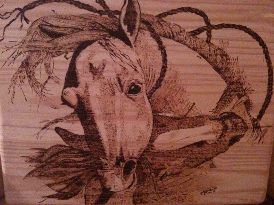 Jeunes étalons - gravure sur bois 40x60
