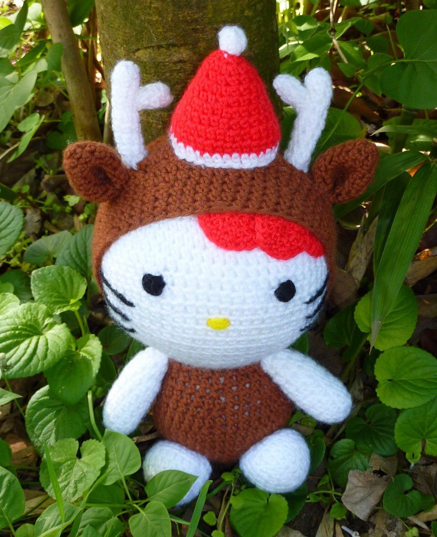Hello Kitty en costume de renne de Noël