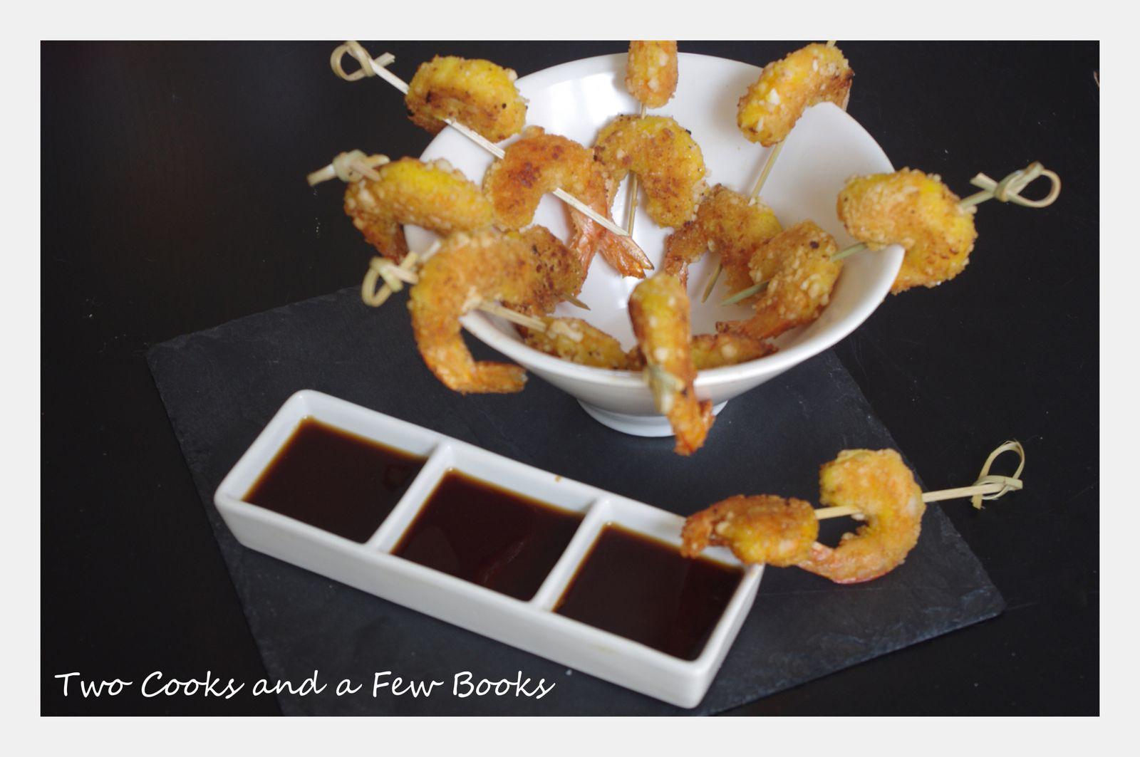 Crevettes roses panées aux chips de crevettes et sauce soja