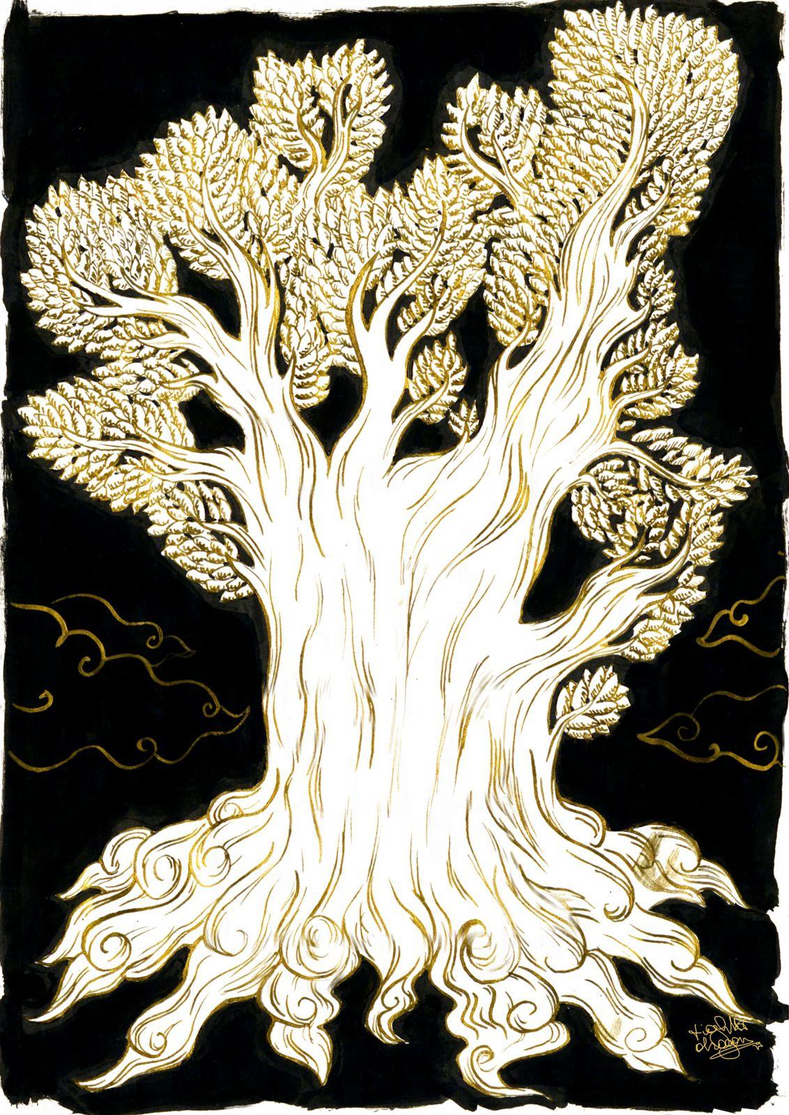 Réalisé avec de l'encre dorée (plume) et de l'encre de chine (pinceau)