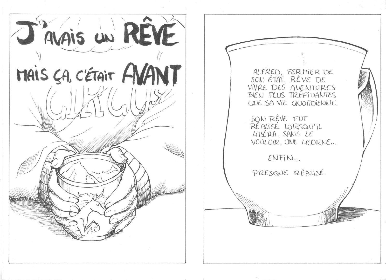L'entièreté de la bande-dessinée, réalisée au feutre avec quelques touches de marqueur-pinceau.