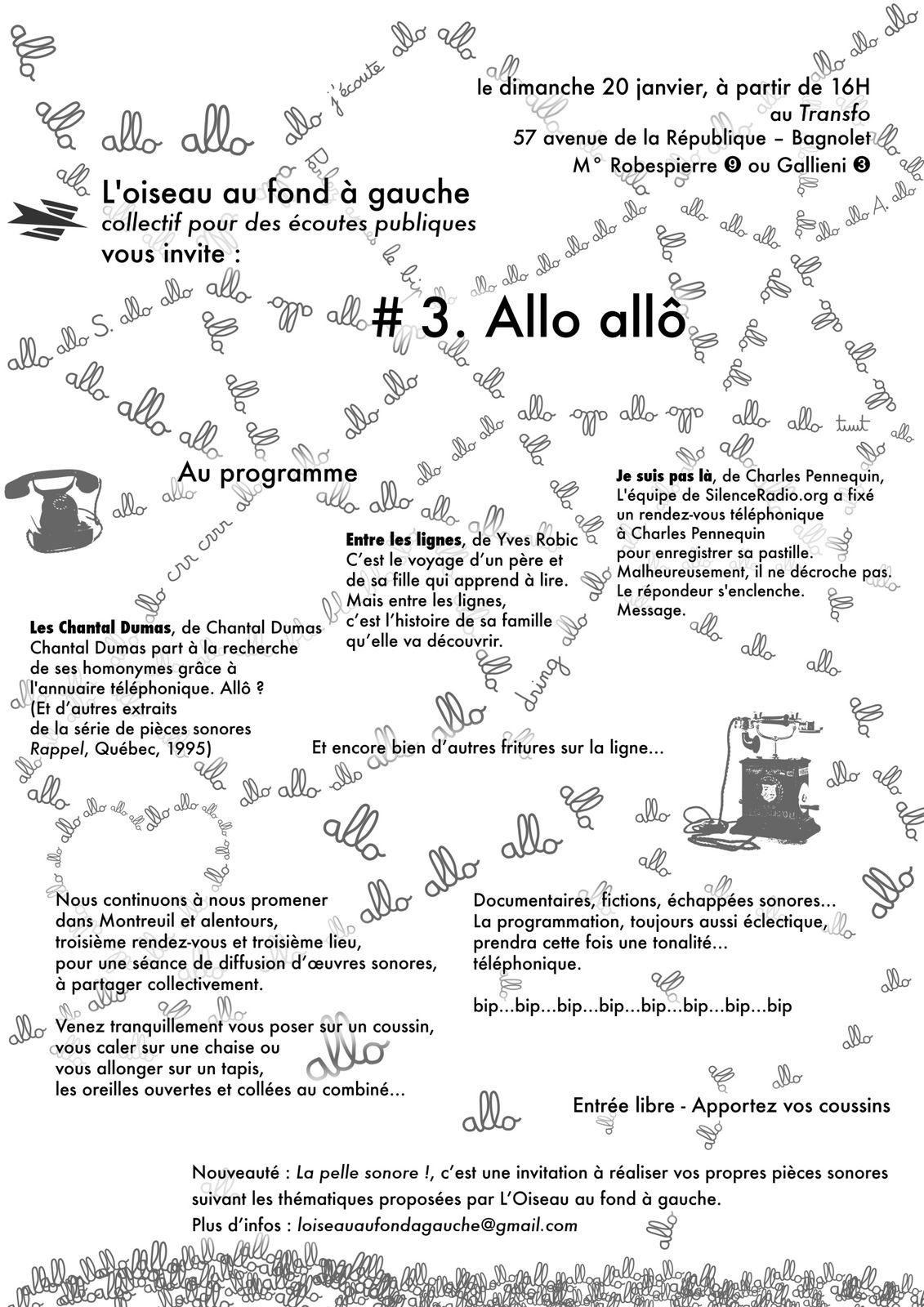 Affiche séance d'écoute du 20 janvier 2013