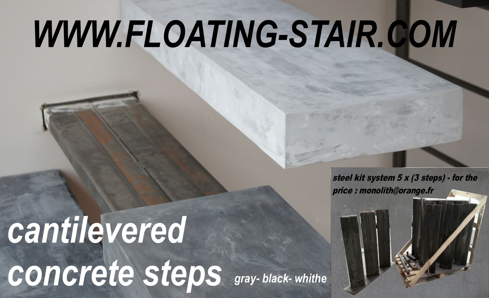Floating outdoor patio stairs escalier exterieur marche en for Marche exterieur en beton