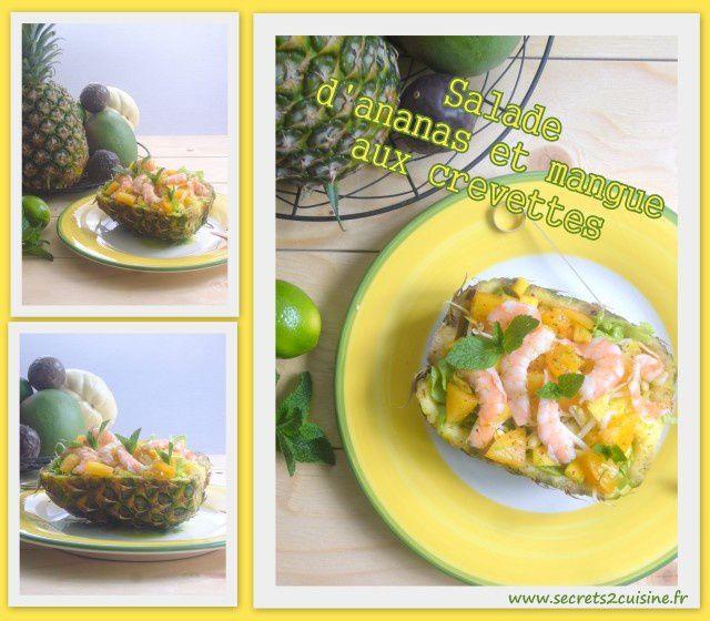 Salade d'ananas et mangue aux crevettes.