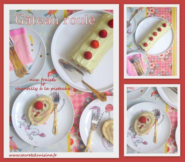 Gâteau roulé aux fraises et chantilly à la pistache.