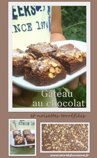 Gâteau au chocolat et noisettes torréfiées.