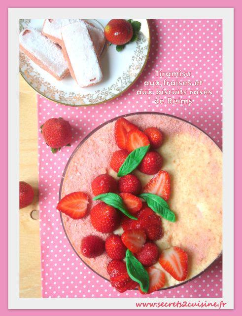 Tiramisu aux fraises et aux biscuits roses de Reims