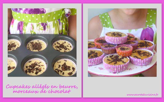 Cupcakes allégés en beurre, morceaux de chocolat noir