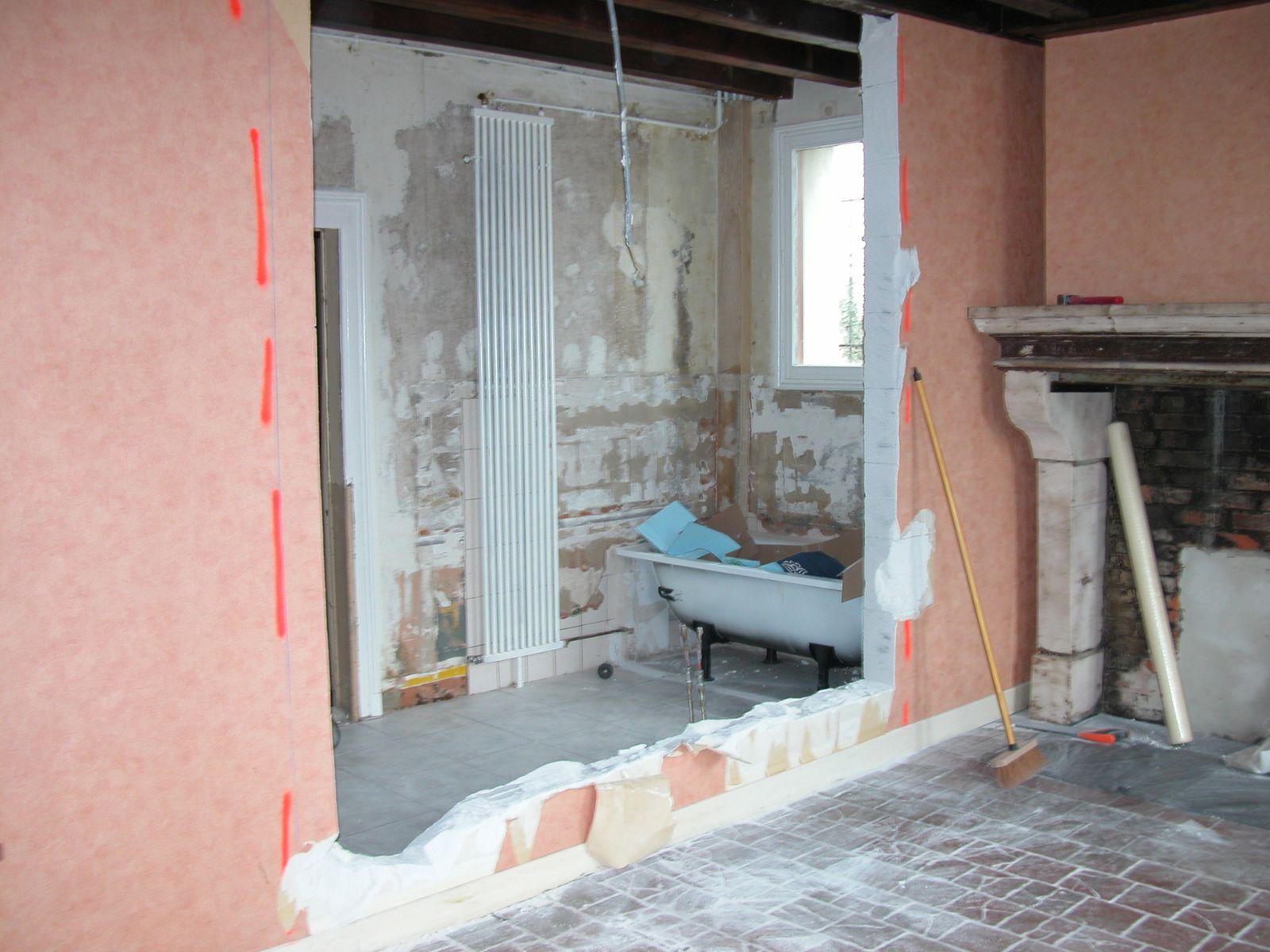 Agrandissement salle de bain la fermette de francheville for Cloison vitree entre chambre et salle de bain