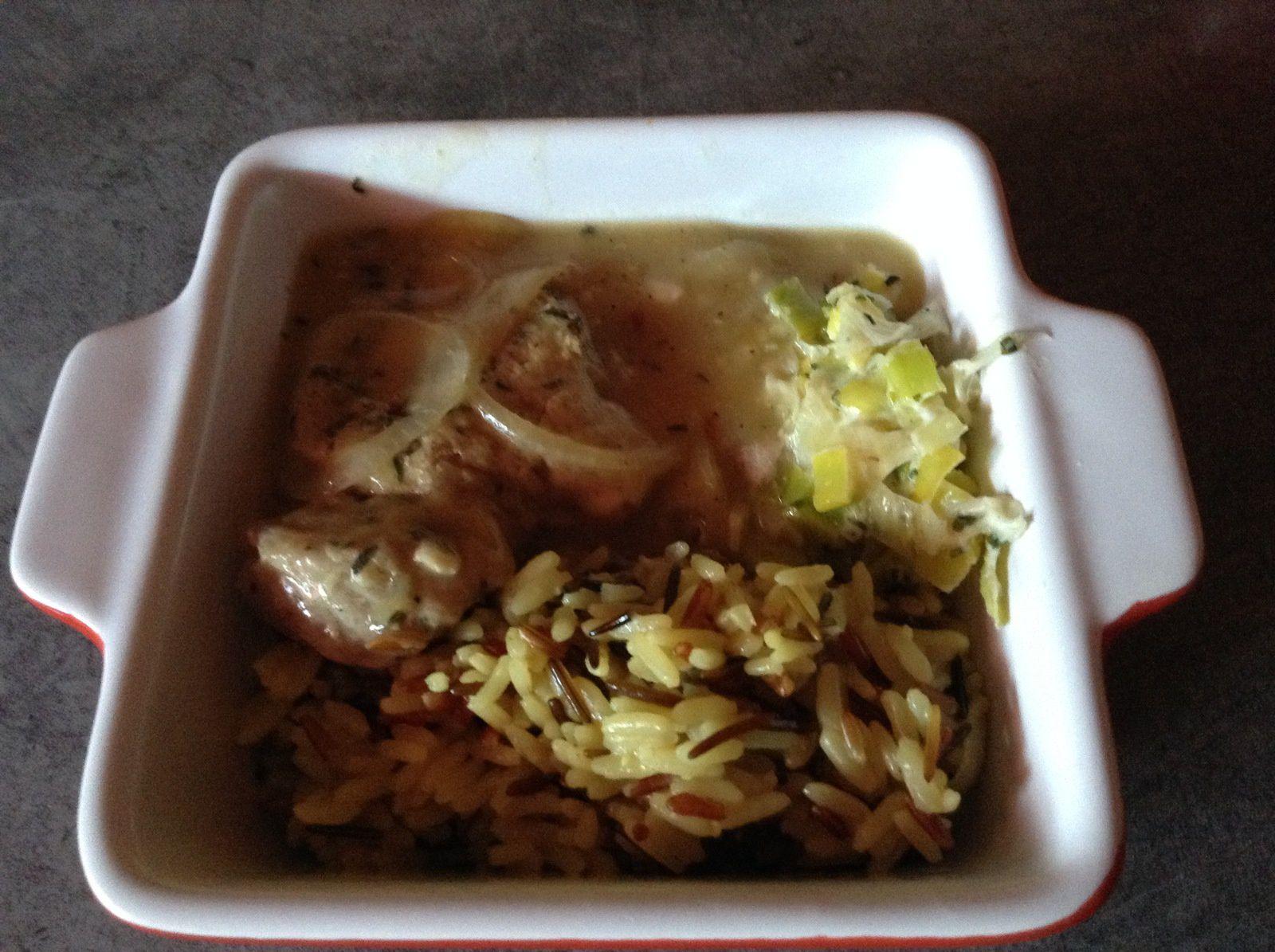 Je l'ai accompagne d'un riz pilaf  de trois sortes de rizs et d'une fondue de poireaux a la crème