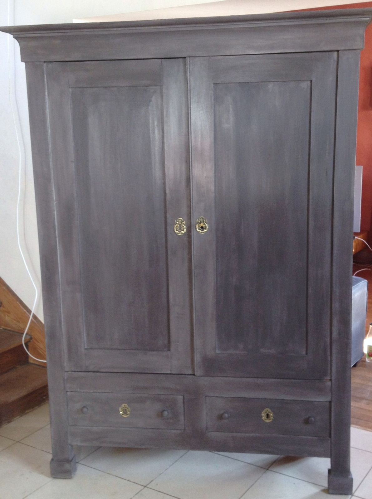 a vendre 680 armoire directoire xix restaur e patin e aubergine epinal vosges meubles. Black Bedroom Furniture Sets. Home Design Ideas