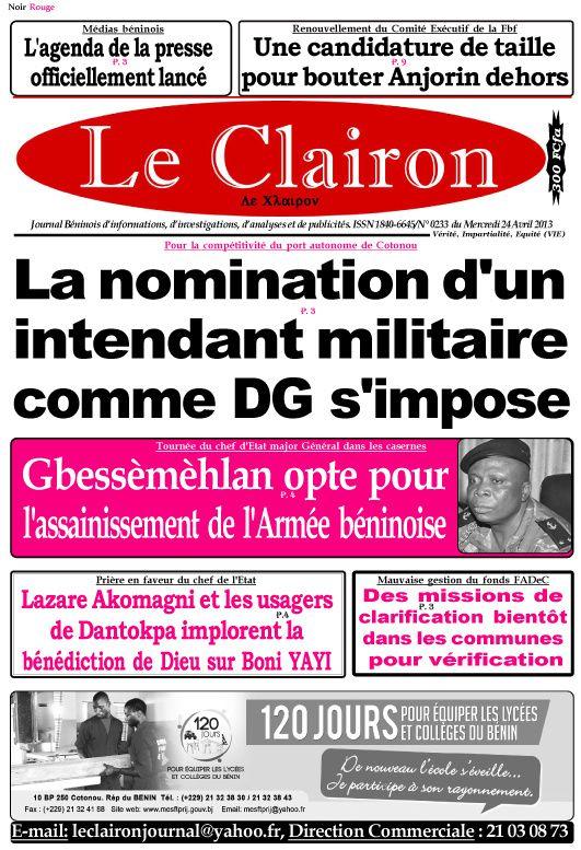 Une du journal Le Clairon du Mercredi 24 avril 2013.