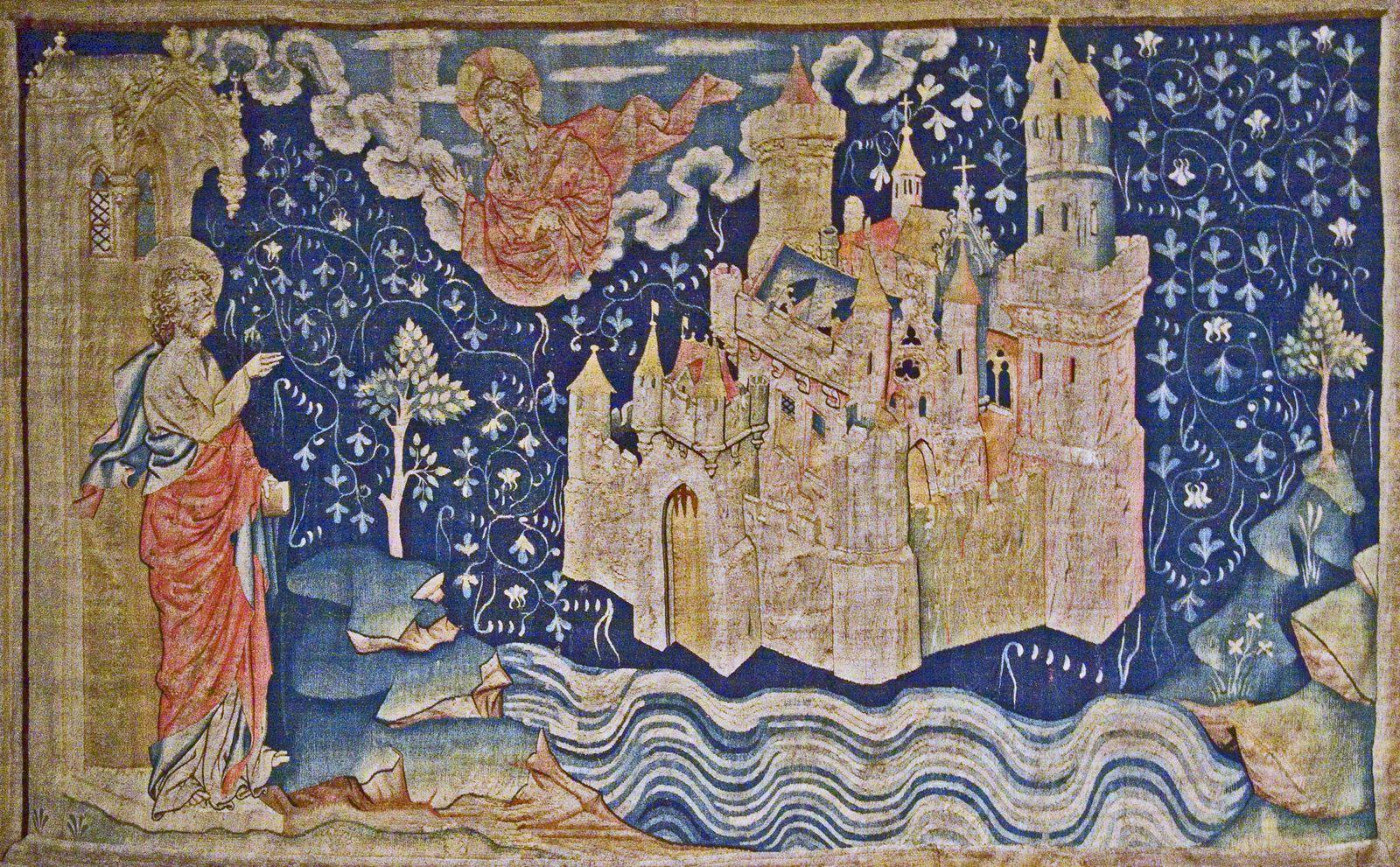 A Angers, la Jérusalem céleste d'Hennequin de Bruges. Noter les Y pythagoriciens, symboles des bifurcations du libre arbitre.