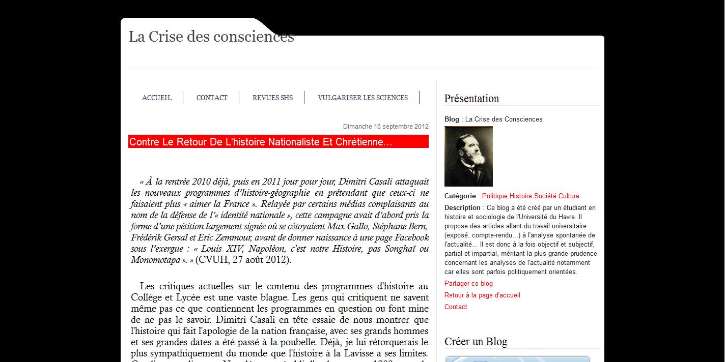 Capture d'écran du blogue. Pour voir l'article : http://jeanjaures.over-blog.fr/article-contre-le-retour-de-l-histoire-nationaliste-et-chretienne-110150109.html