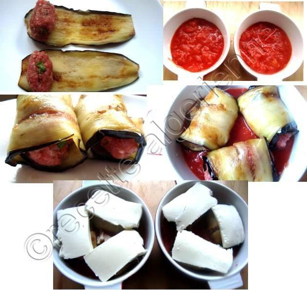 roulé d'aubergine a la viande haché sur lit de tomate et mozzarella