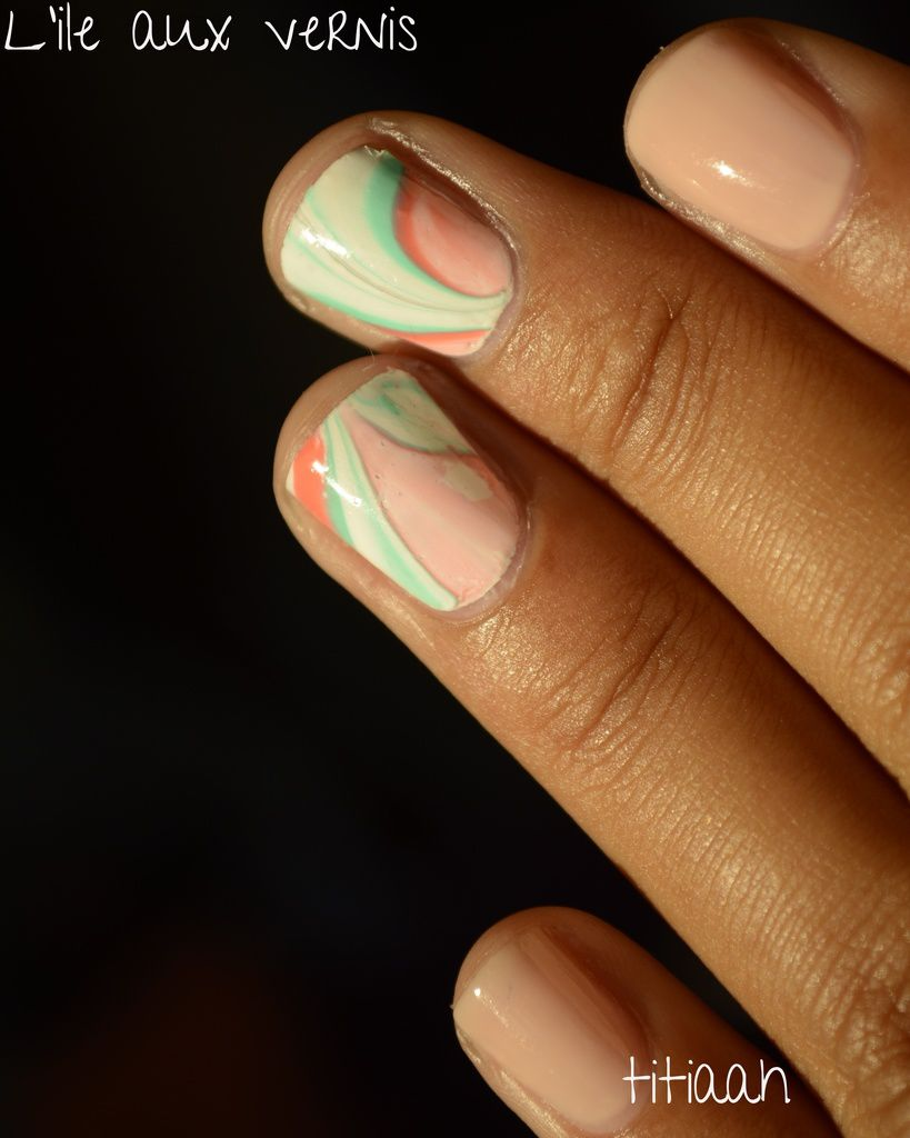 [nail art] un watermarble de printemps