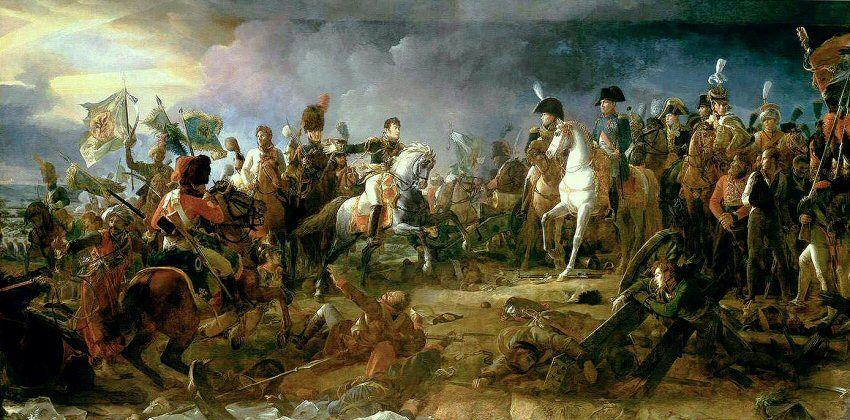 Le Général Rapp, sortant du combat, blessé,  présente à l'Empereur les drapeaux qui viennent d'être enlevés, ainsi que le prince Repnin, fait prisonnier.