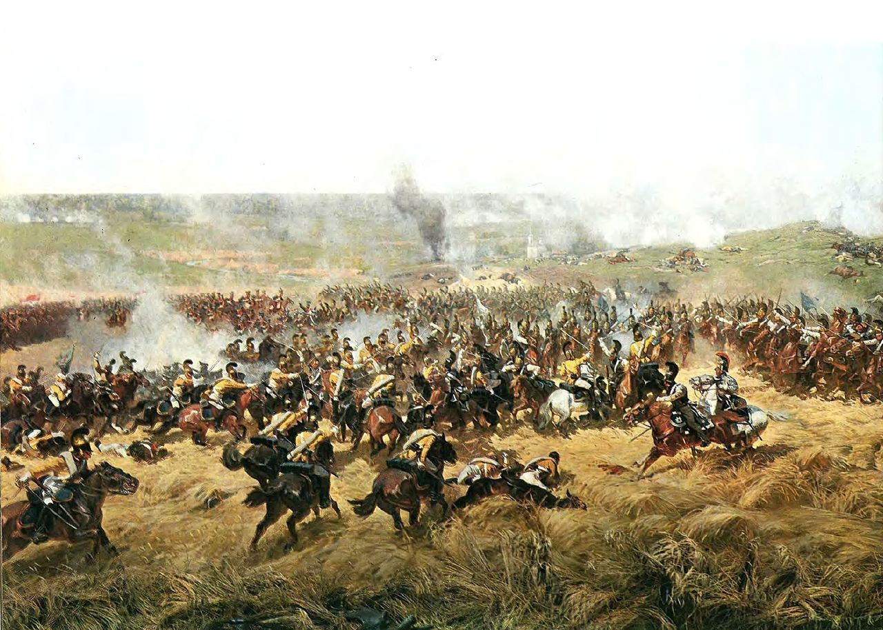 Les cuirassiers Saxons de La Tour-Maubourg attaquent les cuirassiers russes. La redoute Raïevski se trouve à droite, dans la fumée. À l'arrière-plan, on distingue l'église de Borodino. Détail du Panorama de Borodino.