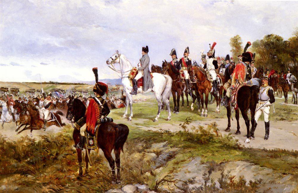 Napoléon à la bataille de Friedland, le 14 juin 1807. Peinture de James Alexander Walker