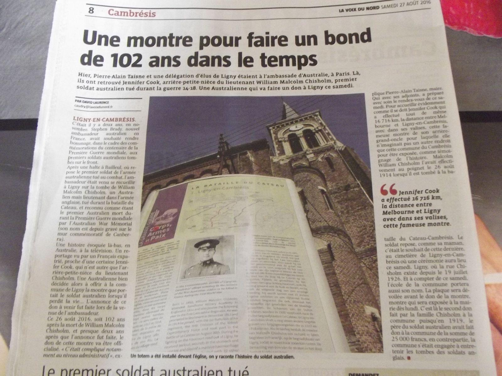 """Journal """"La Voix du Nord """" du 27 août 2016...."""