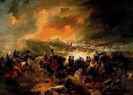 Napoléon et le prince Poniatowski le 17 août 1812 lors de la bataille de Smolensk par Jean-Charles Langlois.
