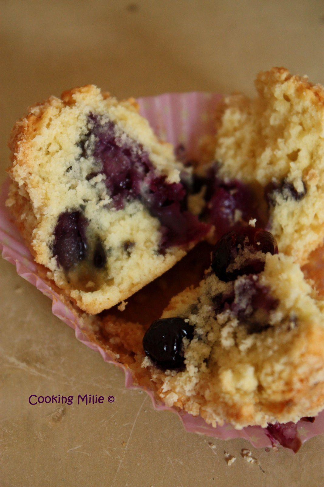 Muffins crumble aux myrtilles