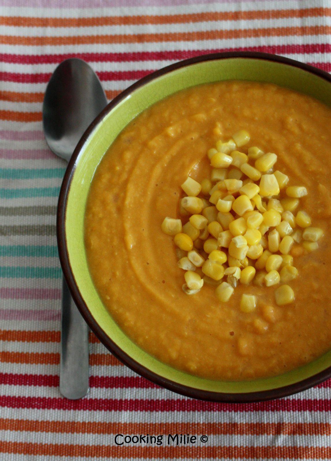 Soupe de maïs et de patate douce